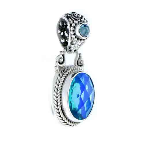 caribbean quartz with swiss blue topaz pendant sarda