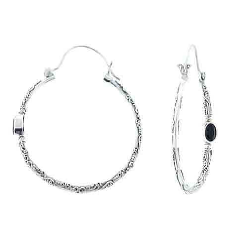 Black Spinel Hoop Earrings Sarda
