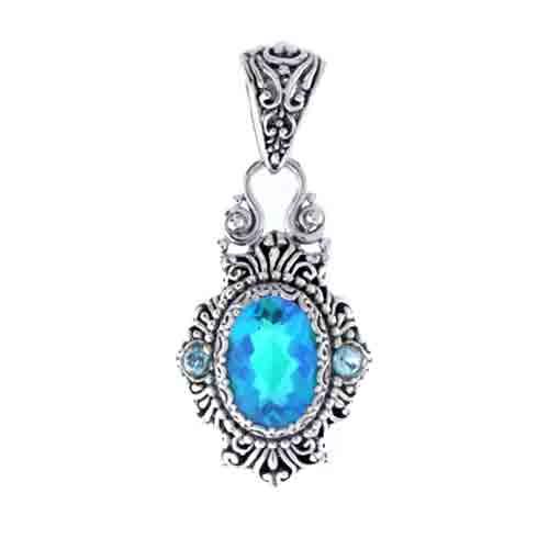 caribbean quartz and swiss blue topaz pendant sarda
