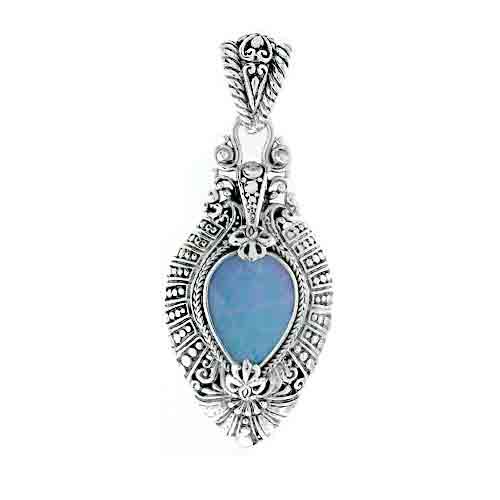 Blue quartz mother of pearl quartz pendant sarda gemstone aloadofball Gallery