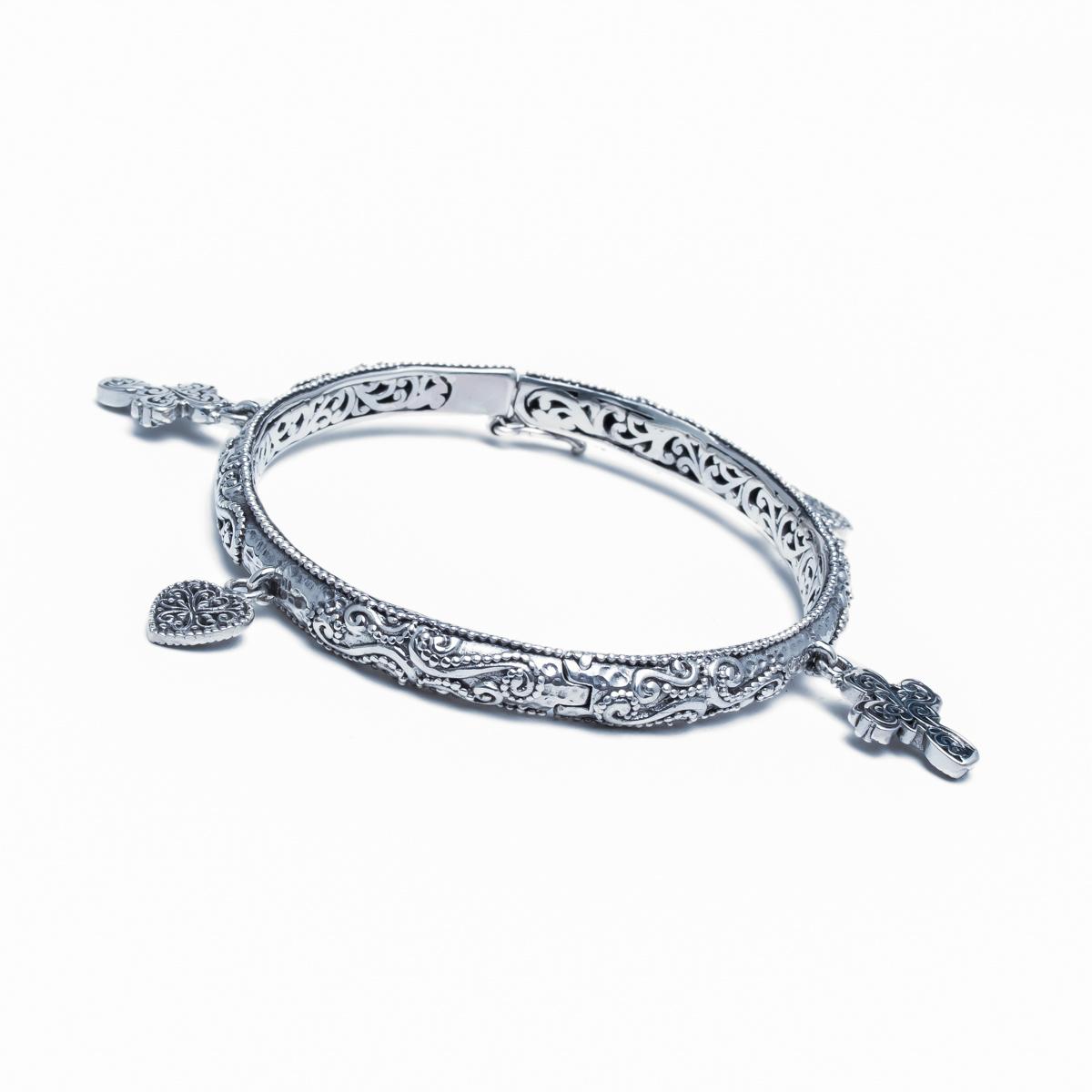 Dangling Cross Bracelet: STERLING SILVER FLOWER CROSS HEART DANGLE BRACELET